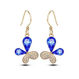 Butterfly Crystal Earrings Fashion 18k Women Drop Earrings Jewelry Austria Crystal For Women Wedding Chandelier Earrings Jewelry8008