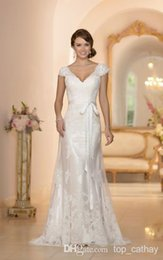 Wholesale 2014 Backless Wedding Dresses V Neck Cap Sleeve Column Sheath Floor Length Sash Tulle Sweep Train Bridal Gowns vestido de novia LX