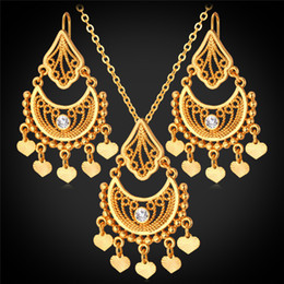 U7 Gold Plated Indian Jewelry Set for Women Platinum 18K Real Gold Plated Rhinestone Vintage Heart Tassel Necklace Earrings Set