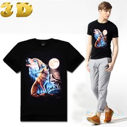 Wholesale FG1509 New Real d Printed Shirt Wolf Punk Rock Clothing American Apparel Graphic Awesome Wolf T Shirt Women Couple Cloth Necklace