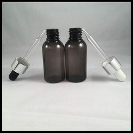 HOT Eliquid Cigarette 30ml PET Bottle Glass Dropper Bottle With Black And White Nipple Silver Cap For Ejuice E