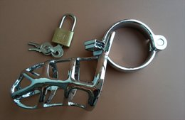 Stainless Steel Chastity Cock Cages Devices With 3 Rings padlock Penis Cock Cage Penis Ring Sex Toy For Men