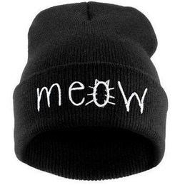Wholesale 2015 sale fur hats for women beanies Letter MEOW Beanies hedging wool hat hip hop hedging wool cap