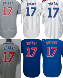 Factory Outlet Mens Womens Kids Chicago 17 Kris Bryant Blue White Grey Cool Base Flex Base Best Quality Baseball Jerseys