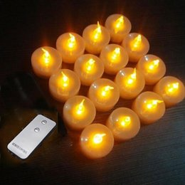 Wholesale 16pcs Flickering Wireless Remote Control Candle Light Smokeless Amber Yellow Battery Operated Tealights Candle Valentine s days