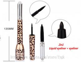 Eyes makeup 1set leopard grain eyeliner pencil+black eyeliner liquid sets 2in1 long lasting waterproof smudge-proof fast quick dry