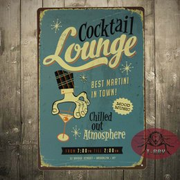Wholesale COCKTAIL LOUNGE BEST MARTINI IN TOWN LARGE METAL POSTER TIN SIGN WALL PLAQUE A