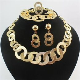 Jewelry Sets Fashion For Women Alloy Necklace Bracelet Ring Earring Costume Bridal Wedding Jewellery Set Gift