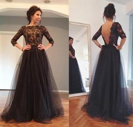 2015 Formal Black Evening Dresses Half Sleeve Sheer Bateau A Line Floor Length Black Open Back Elegant Bride's mother dress
