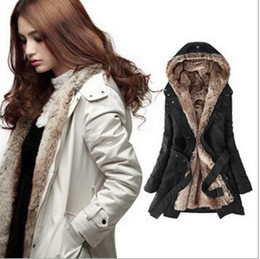 Wholesale Luxury women Fur Lining Trench Coats outwear hooded warm jacket with belt lady winter apparel clothing colors