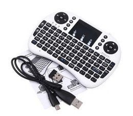Wholesale-For Hebrew Arabic English Mini 2.4Ghz Wireless Keyboard Air Mouse Remote Control Touchpad For Laptop TV Box PC Tablet Mini PC