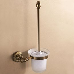 Wholesale high class space aluminum toilet brush holder and glass cup wall mount antique brush bronze