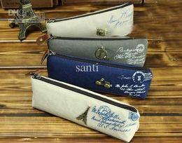 Wholesale Lovely Eiffel - Lovely Sweet Students linen pencil case Women Grils' cosmetic purse Bag Eiffel Tower camera