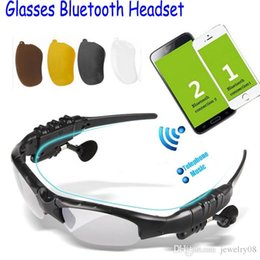 Wholesale Wireless Bluetooth SunGlasses Headset Headphones Handfree Sport Glasses With Mic MP3 for iphone ipad Samsung HTC Sony psp free