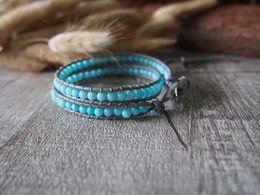 Sky Blue Jade Beaded Wrap Bracelet Leather Wrap Bracelet Handmade Bracelet