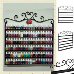Wholesale Heart Black Metal Nail Polish Display Wall Rack Fit Up To Bottles