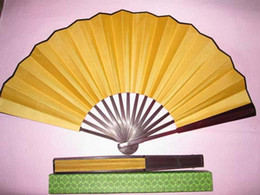 Wholesale High quality Pure Yellow Folding Silk Dance Props Fans Decorative DIY Fine Art Painting Programs Hand held Fan