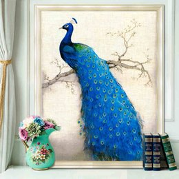 Wholesale DIY Painting D cross stitch diamond embroidery diamond painting round stone peacock for home wall wedding decoration no frame