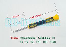 Repair Tool CR-V 45mm Rubber Handle 140mm Screwdrivers 0.8 Pentalobe 1.5 Phillips T3 T4 T5 T6 T7 T7H T8 T8H T10 T10H Screwdriver 100pcs