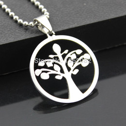 Wholesale Fashion Jewelry Men Women s Stainless Steel Celtic Tree of Life Charm Pendant Beads Chain Necklace Amulet Gift MN308