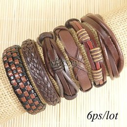 Free shipping wholesale (6pcs lot) cool bangles ethnic tribal genuine adjustable leather bracelet for men-TE117