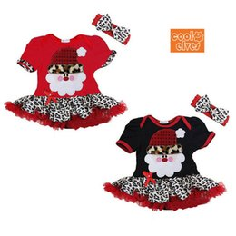 Promotion nouvelles robes de filles de noël 2015 New Summer Christmas Baby Girls Dress Enfants Princesse Nouvel An des sets de Santa Claus Bows Leopard Tutu Dress + Bandeaux