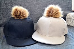 Cotton baseball cap with Pom Pom faux fur hats unisex adjustable snapback hat caps newest free shipping