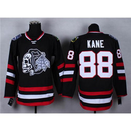 Wholesale Cheap Blackhawks Patrick Kane Black Hockey Jerseys Stadium Series White Skull Head Ice Hockey Wears Hot Sale American Hockey Uniforms