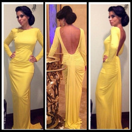 vestidos de fiesta Long Mermaid Prom Dresses Long Sleeve 2020 Yellow Evening Dresses Spandex Fashion Backless Party Gowns