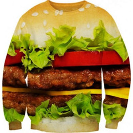 New 2014 Spring Women Men Food Hamburger Space Galaxy Punk 3D Print Sweatshirts Pullovers Hoodies Funny Long Sleeves Sweatshirt