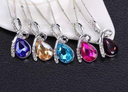 Women jewelry Luxurious austrian crystal Diamonds pendant necklace 925 Sterling Silver Necklace Angel's tear Pendant Statement Necklace