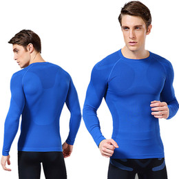 Wholesale Men s Long Sleeved Leotard Body Sculpting Quick drying Tights Gently press round neck comfortable breathable Nylon fabric Gym Clothing