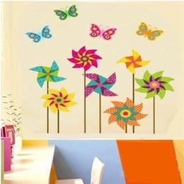 Calcomanías de decoración de la habitación en Línea-Pegatinas de pared Decalque de pared Desmontable Kid's Room Dormitorio de fondo Decorar pegatinas de pared Windmill PVC Wall Stickers