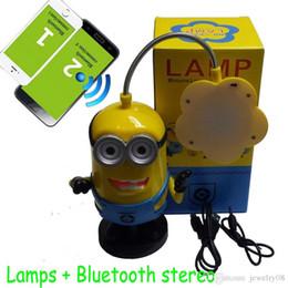 Wholesale Mini Portable Bluetooth Speaker Despicable Me Table Lamp Kids Cute Minions Amplifier Folding USB FM Desk Lamps Rotate Degrees