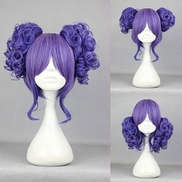Wholesale 2015 New Cute Fashion Princess cm Purple Curly Synthetic Lolita Wig Pigtails