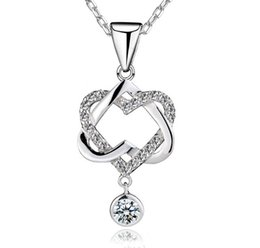 925 Sterling Silver Forever Love Pendant Necklace Heart to Heart Perfect Ladies Luxury Wedding Austrian Crystal Party Dress Zircon Jewelry