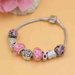 Free Shipping New Arrival Newest Breast Cancer Awareness Jewelry Rose European Bead Charm Breast Cancer Pink Ribbon Bracelet
