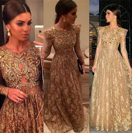 2015 Beading long sleeve lace A line sheer sexy prom dresses floor length formal evening gowns