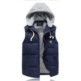 Wholesale Coat Army Fashion For Men - Fall-2015 Male Vests Hooded Fashion - pocket Solid Zipper Vestcosts Men Winter Hat Detachable For Men 's Jackets And Coats