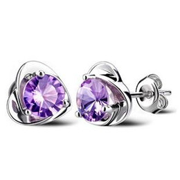 925 sterling silver item crystal jewelry vintage wedding charms purple rose love heart shaped new arrival