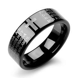 Wholesale Creative Men jewelry Classic Cross Bible Ring Tungsten Rings simple WJ243