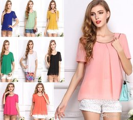 Wholesale Size Clothes For Women - 10 color Plus Size Summer Clothes For Women tops 2015 Fashion Casual Sequin O Neck Short Sleeve Chiffon Blouses Ruffles1038