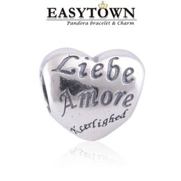 Wholesale liebe amore heart pandora charm beads fit European women pandora Bracelet Bangle for DIY jewelry