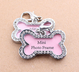 Wholesale Pets id Tag Dogs Bones Shaped Crystal Photo Frame beautiful cats name id cards