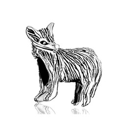 HK MYD Jewelry Black enamel Fox Animal charm In rhodium Plating European bead Fit Pandora Bracelet