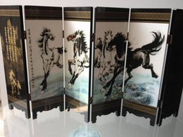 Wholesale Wood horse picture screen byobu folding wood unique Chinese Antique