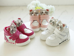2016 children shoes kids girls sneakers led light shoes kids Rhinestone casual leather shoes soft bottom KT girls high boots online