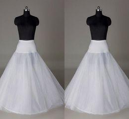 In Stock Petticoats Cheap 2015 Crinoline White A-Line Bridal Underskirt Slip No Hoops Full Length Petticoat for EveningPromWedding Dress