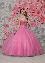 Wholesale 2016 Ravishing Rose Pink Sweetheart Crystal Beaded bodice on Ball Gown Tulle Skirt Quinceanera Dresses Special Occasion Girls party Gown