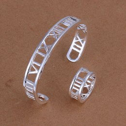 High grade 925 sterling silver Big empty piece Rome jewelry sets DFMSS283 brand new Factory direct sale 925 silver bracelet ring